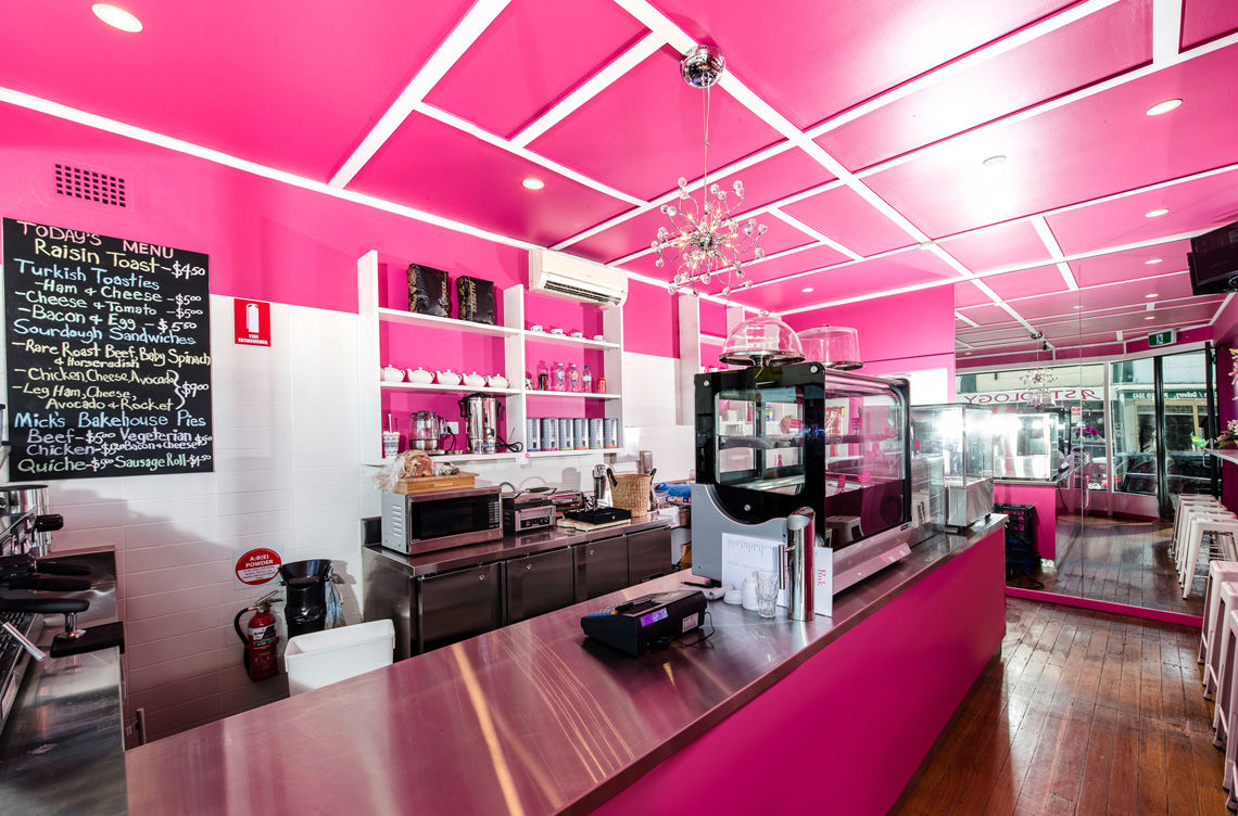 pink café fitout gallery - hospitality fitout specialists